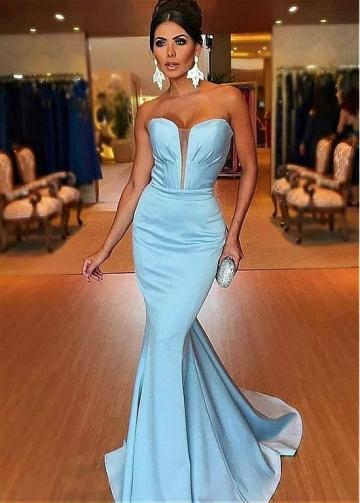Graceful Tulle & Satin Sweetheart Neckline Floor-length Mermaid Evening Dresses