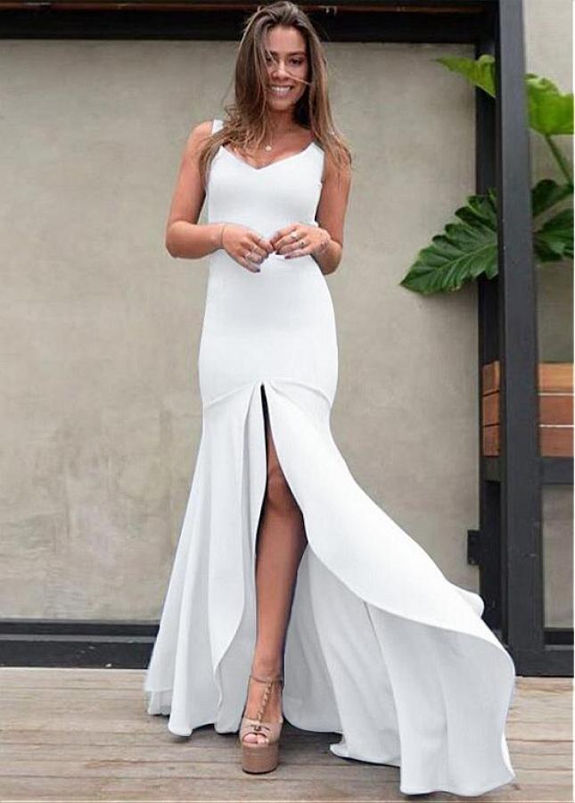 Marvelous V-neck Neckline Floor-length Mermaid Evening Dresses With Slit