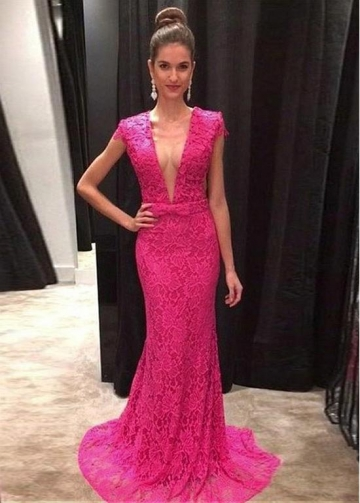 Fabulous Lace V-neck Neckline Floor-length Mermaid Evening Dresses With Belt & Bowknot