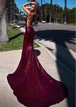 Open Back Sequin Lace Spaghetti Straps Neckline Floor-length Mermaid Evening Dress