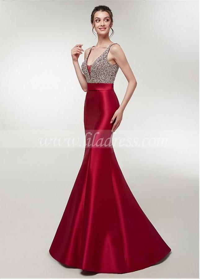 Delicate Satin V-neck Neckline Floor-length Mermaid Evening Dress With Beadings
