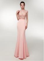 Alluring Satin High Collar Floor-length Mermaid Evening Dress With Beadings