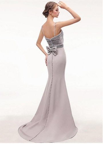 Gorgeous Spaghetti Straps Neckline Floor-length Mermaid Evening Dress With Beadings