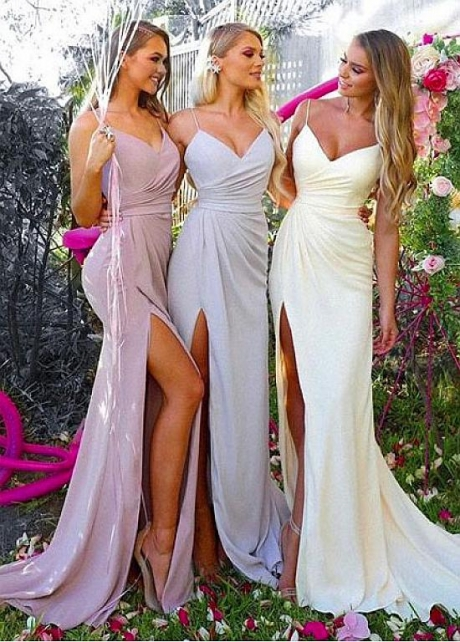 Beautiful Spaghetti Straps Neckline Mermaid Bridesmaid Dresses