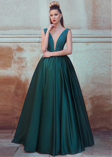Fashionable Chiffon & Satin V-neck Neckline Floor-length A-line Evening Dress