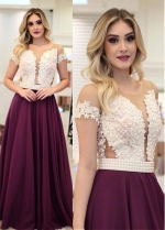 Winsome Tulle & Chiffon Jewel Neckline Floor-length A-line Prom Dress With Belt & Beaded Lace Appliques