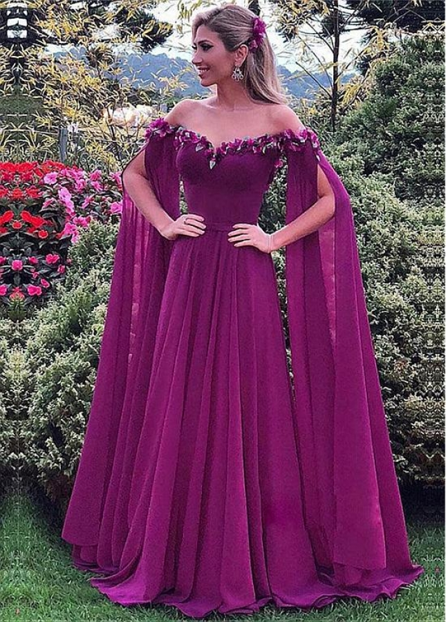 Romantic Chiffon Off-the-shoulder Neckline Full Length A-line Evening Dress With Handmade Flowers