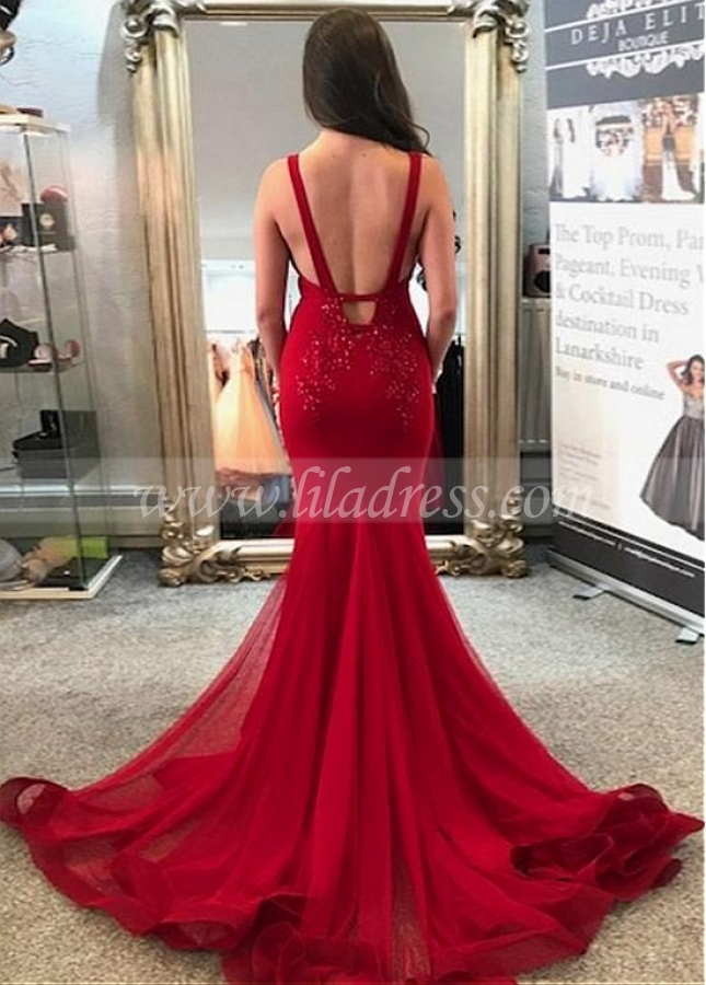 Junoesque Tulle Spaghetti Straps Neckline Mermaid Prom Dress With Beaded Lace Appliques