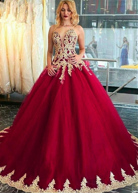 Unique Tulle Sweetheart Neckline Ball Gown Prom Dress With Beaded Lace Appliques