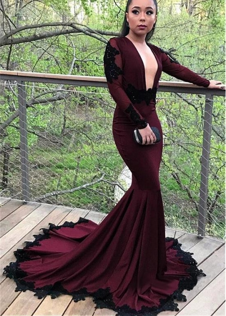 Formal Acetate Satin V-neck Neckline Long Sleeves Backless Mermaid Evening Dress With Beaded Lace Appliques