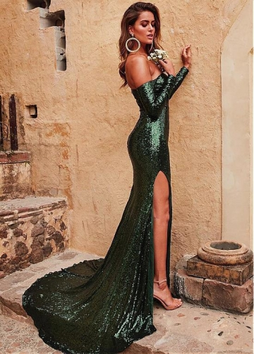 Sexy Sequin Lace Off-the-shoulder Neckline Sheath / Column Prom Dress With Slit