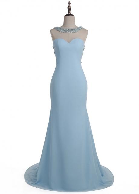 Wonderful Tulle & Chiffon Jewel Neckline Mermaid Evening Dress With Beadings