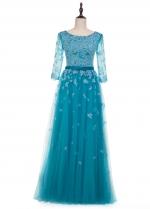 Fantastic Tulle Scoop Neckline A-line Evening Dress With Lace Appliques & Belt