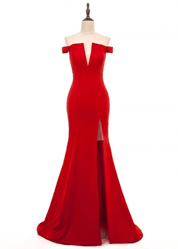 Alluring Stretch Satin Off-the-shoulder Neckline Mermaid Evening Dress With Slit