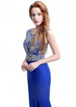 Alluring Jewel Neckline Sheath Long Evening Dresses With Slit & Beadings