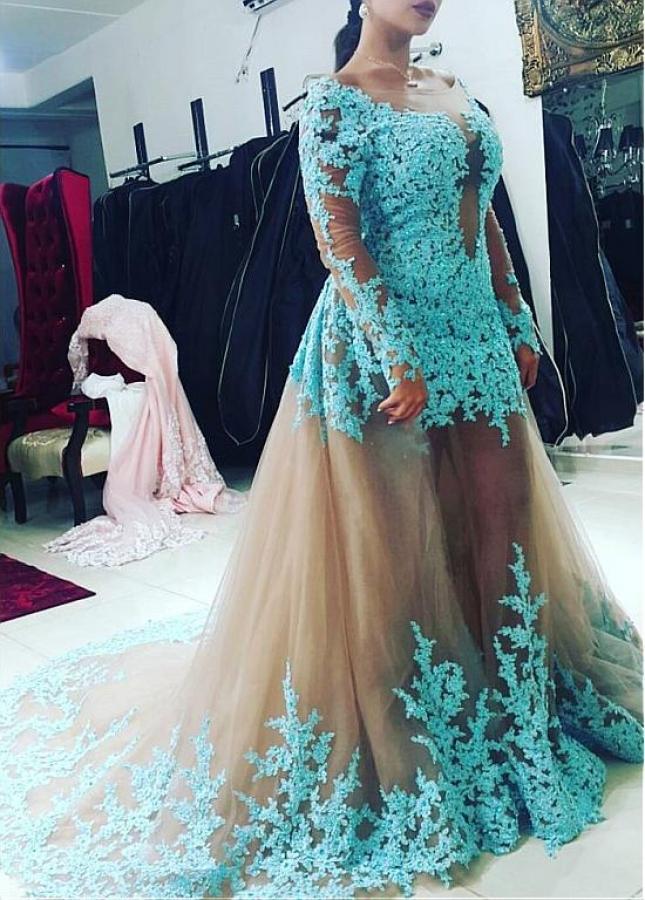 Delicate Tulle Bateau Neckline Mermaid Formal Dresses With Sleeves