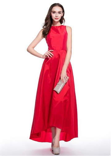Graceful Taffeta Bateau Neckline Hi-lo A-line Homecoming Dresses