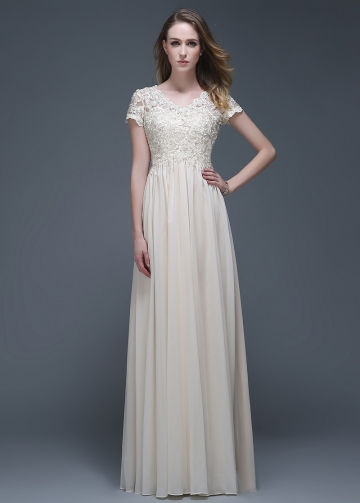 Elegant Chiffon V-neck Neckline Full-length A-line Evening Dresses