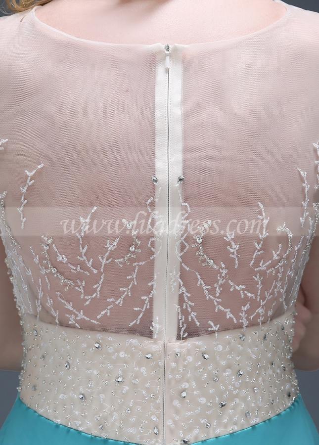 Elegant Chiffon Jewel Neckline Full-length A-line Evening Dresses