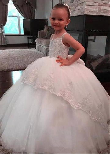 Fabulous Tulle Spaghetti Straps Neckline Ball Gown Flower Girl Dresses With Beaded Lace Appliques & Beadings & Bowknot