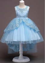 Glamorous Tulle & Satin Jewel Neckline Ball Gown Flower Girl Dress With Lace Appliques & Bowknot