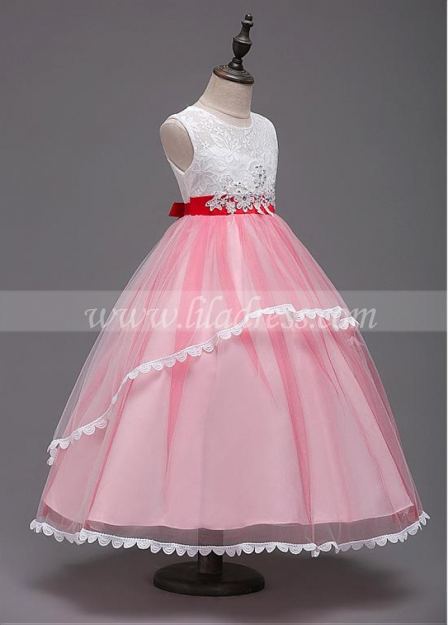 Chic Tulle & Lace Jewel Neckline Ball Gown Flower Girl Dress With Lace Appliques