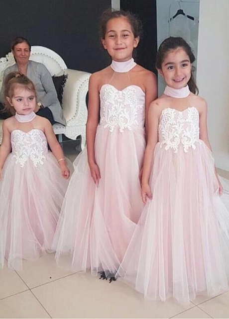 Exquisite Tulle Halter Neckline Ball Gown Flower Girl Dresses With Lace Appliques