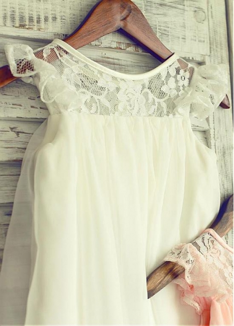 Cute Lace & Chiffon Jewel Neckline Knee-length A-line Flower Girl Dresses