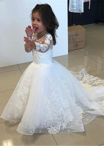 Pretty Tulle Jewel Neckline Ball Gown Flower Girl Dresses With Lace Appliques