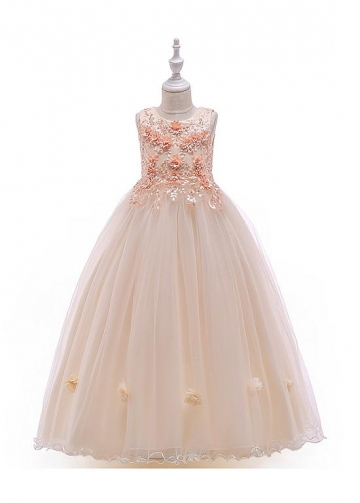 Modern Tulle & Satin Jewel Neckline A-line Flower Girl Dresses With Lace Appliques & Beadings