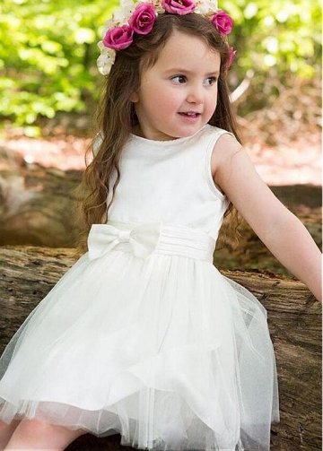 Attractive Tulle & Satin Jewel Neckline A-line Flower Girl Dresses With Bowknot