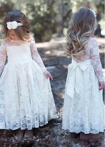 Fashionable Lace Jewel Neckline A-line Flower Girl Dresses With Belt