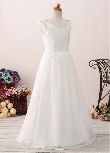 Delicate Chiffon Scoop Neckline A-line Flower Girl Dress