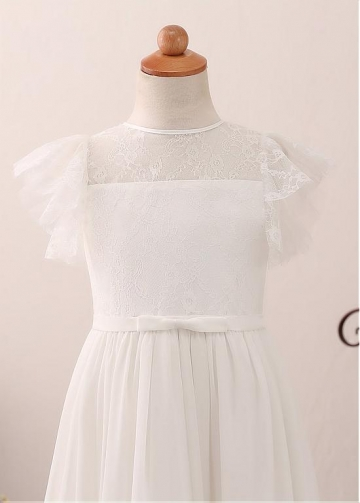 Exquisite Chiffon Jewel Neckline A-line Flower Girl Dress