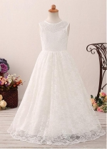 Exquisite Lace Jewel Neckline A-line Flower Girl Dress
