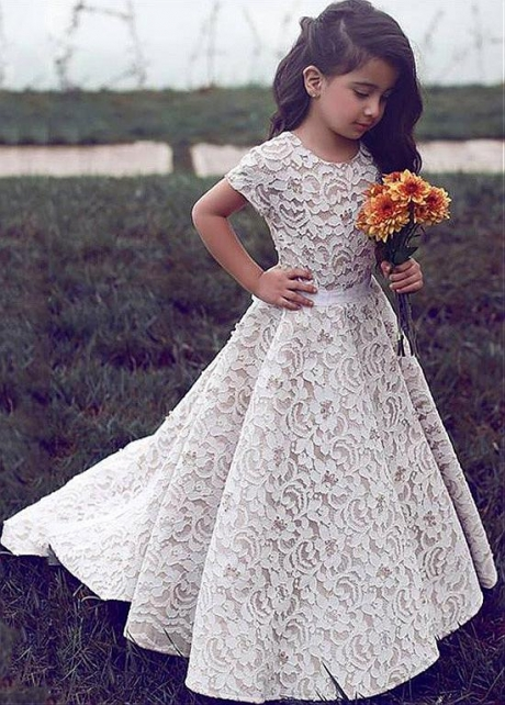Sweet Lace Scoop Neckline Cap Sleeves Floor-length A-line Flower Girl Dresses With Beadings & Belt