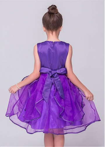Lovely Organza & Satin Jewel Neckline A-line Flower Girl Dresses With Bowknot