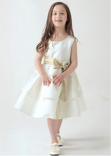 Amazing Satin Scoop Neckline A-Line Flower Girl Dresses With Bow