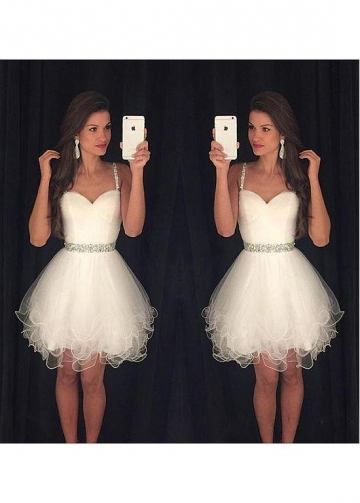 Dazzling Tulle Spaghetti Straps Neckline Short A-Line Homecoming Dresses With Beadings