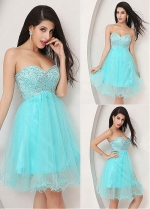 Light Blue Gorgeous Tulle Sweetheart Neckline Short A-line Homecoming Dresses