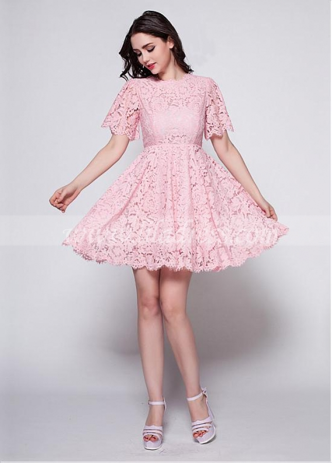 Elegant Lace High Neckline A-Line Pink Homecoming / Sweet 16 Dress