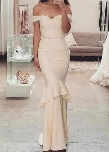 Alluring Satin Off-the-shoulder Neckline Floor-length Mermaid Bridesmaid Dresses