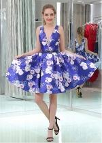 Popular V-neck Neckline Short Length A-line Print Homecoming Dresses