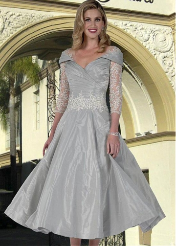 Fascinating Tulle & Taffeta V-neck Neckline A-line Mother Of The Bride Dress With Beaded Lace Appliques