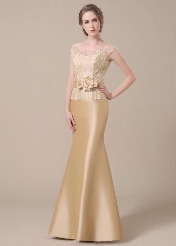 Elegant Taffeta Bateau Neckline Mermaid Mother of The Bride Dresses