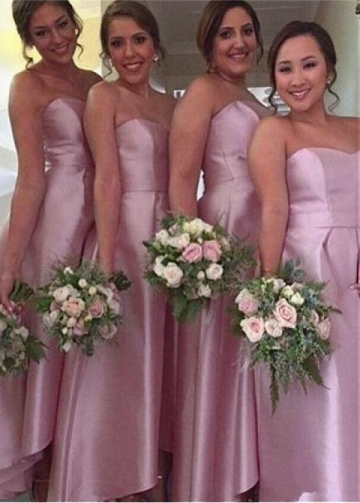Romantic Satin Sweetheart Neckline Hi-lo A-line Bridesmaid Dress