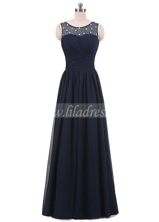Outstanding Tulle & Chiffon Scoop Neckline Floor-length A-line Mother Of The Bride Dresses With Beadings