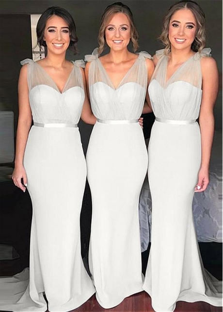 Alluring V-neck Neckline Full-length Mermaid Bridesmaid Dress With Belt