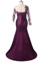 Attractive Tulle & Satin Jewel Neckline Mermaid Mother Of The Bride Dresses With Lace Appliques & Beadings