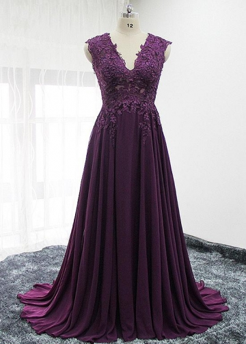Virtuous Tulle & Chiffon V-neck Neckline A-line Mother Of The Bride Dresses With Lace Appliques